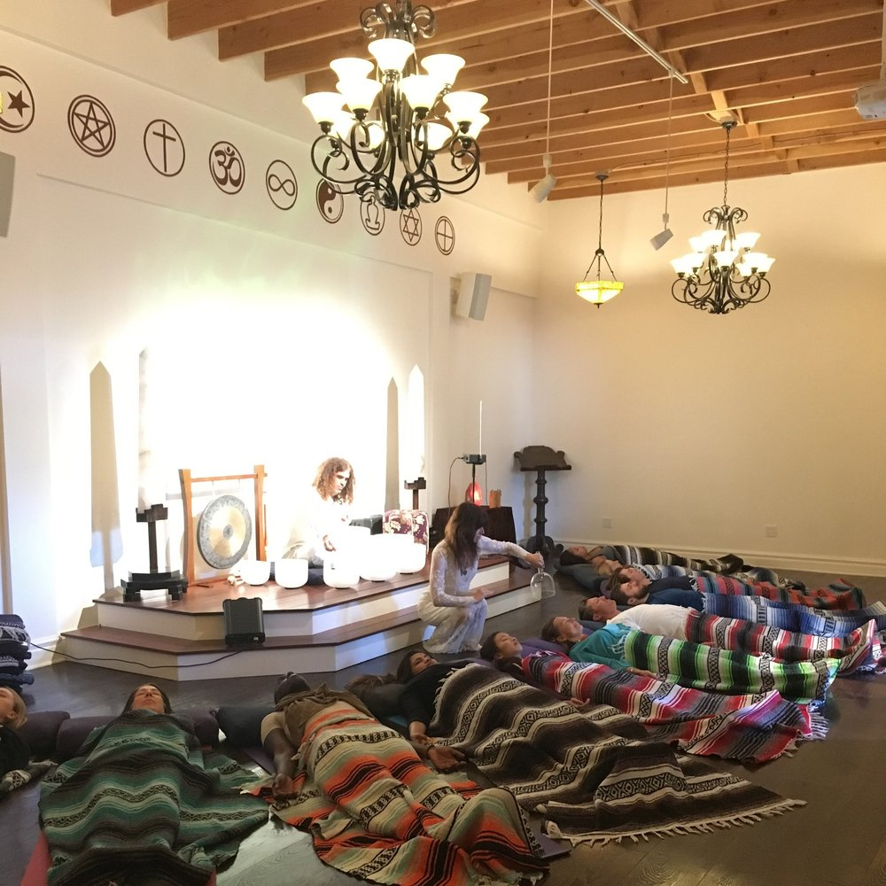 Group Sound Bath - Traditional sound healing instruments, including crystal singing bowls, chimes & gongs, combine with nature sounds, voice, aromatherapy, and individual reiki-infused crystal bowl healing.Email jennyandseth@dynastyelectrik.com to schedule time and location. We will come to your home in the Los Angeles area. Or your group can experience the sound bath at Mystic Journey Crystal Gallery - 1702 Lincoln Blvd in Venice, CA.