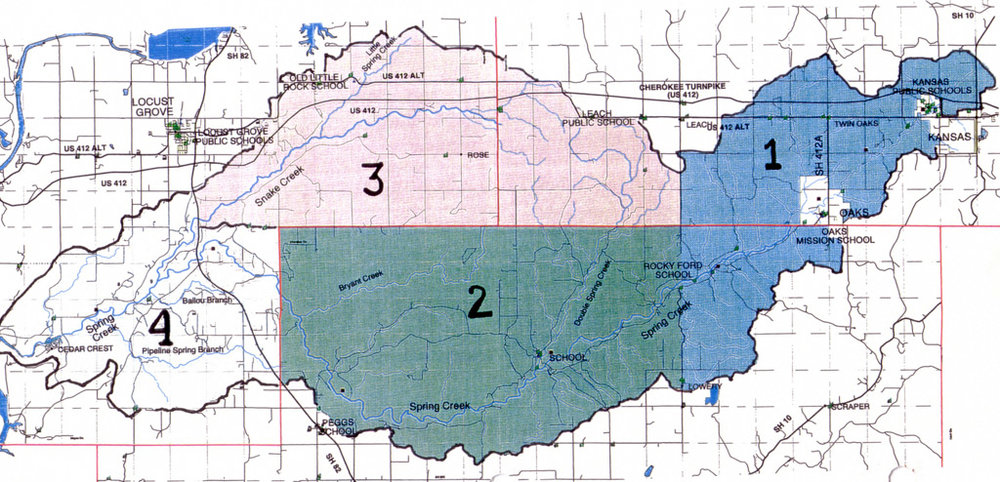 Region 1 represents upper Spring Creek from its beginnings above Kansas, OK, to Rocky Ford Park, Delaware and Cherokee Counties. Region 2 encompasses mid-Spring Creek in Cherokee County. Region 3 represents tributaries to the north in both Mayes and Delaware Counties. Region 4 includes the downstream portions of Snake and Spring Creeks in Mayes County.