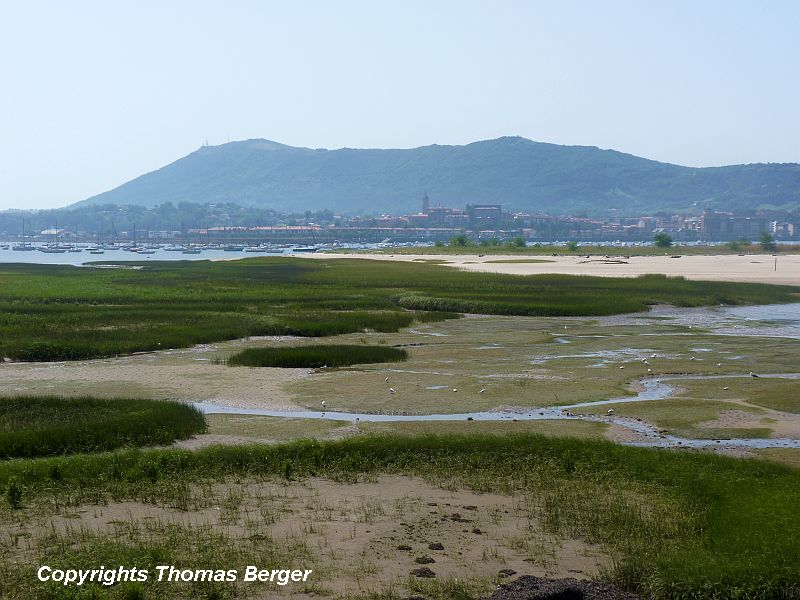 The border between France and Spain is marked by a river and beautiful tidal wetlands.
