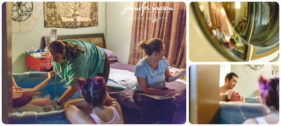doula in action, divine doula, crowning birth, mountain midwifery center, doula support during birth, birth photography,