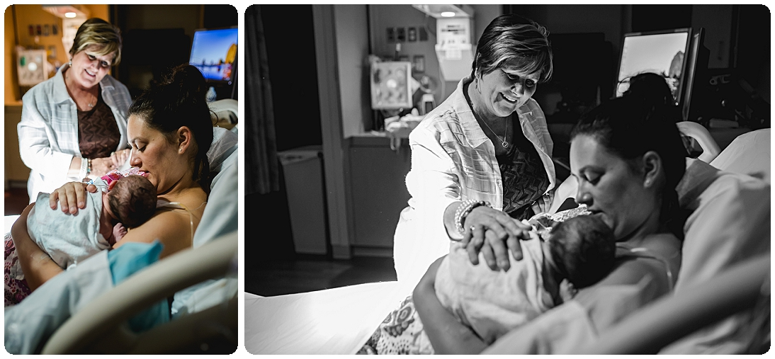 Three generations of love, grandparent photography at a hospital birth in Denver