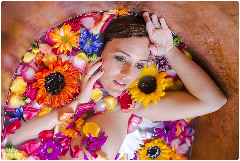 Creative and artsy floral milk bath photos