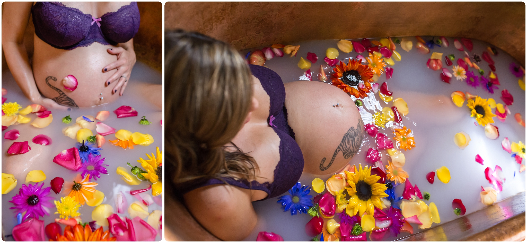 Milk bath maternity session with flowers in a copper tub