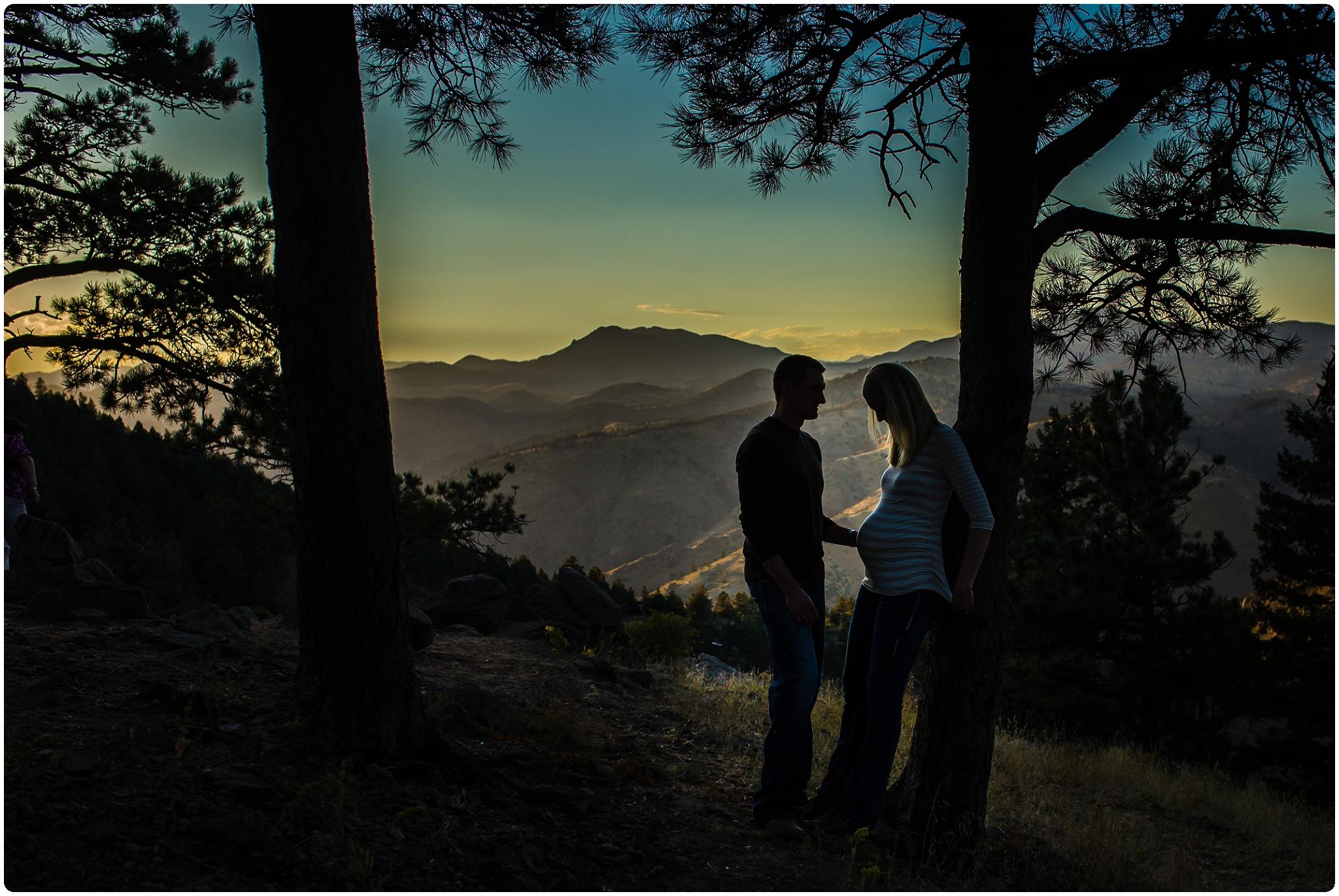 Sunset mountain maternity photos