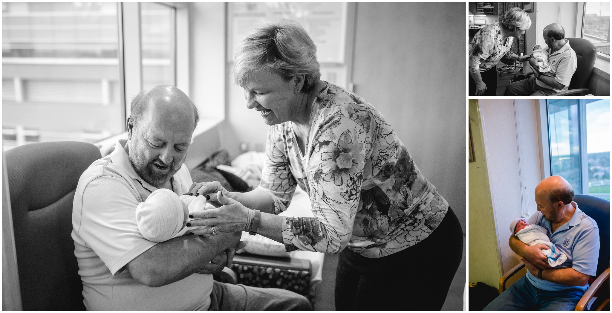 First time grandparents meet their grandson at Center for Midwifery