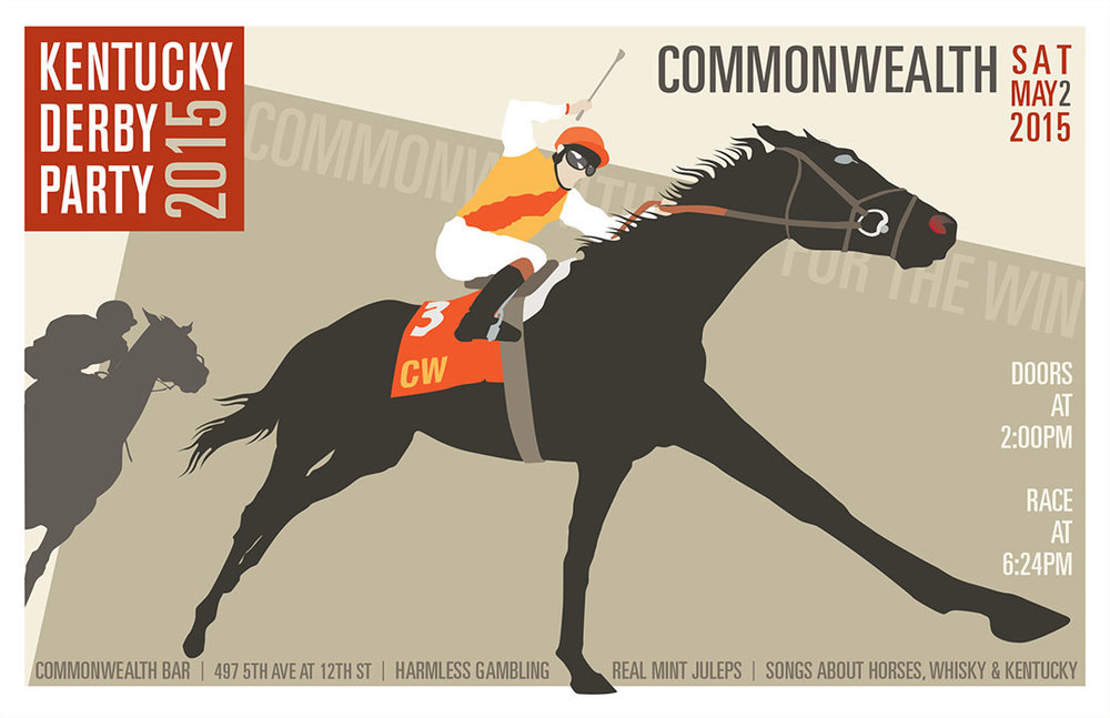 Design and illustration for 2015 Derby Party poster for Commonwealth Bar in Brooklyn