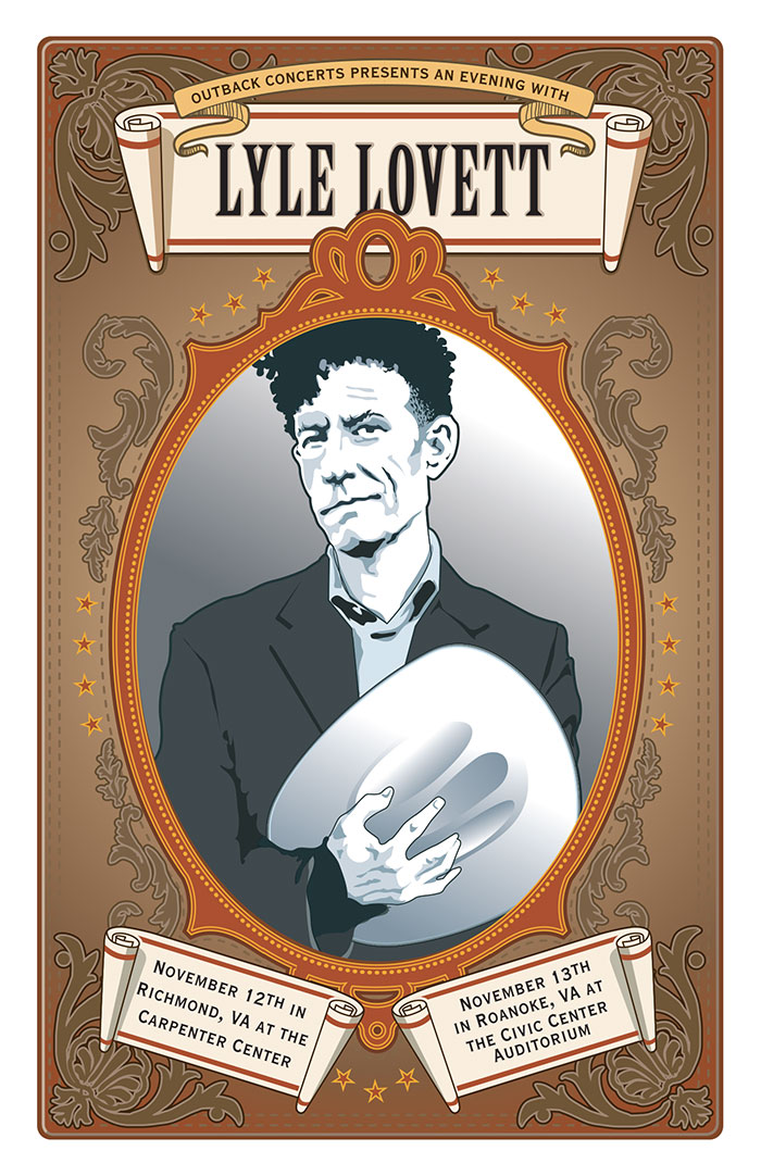Design and illustration for Lyle Lovett poster for Outback Concerts