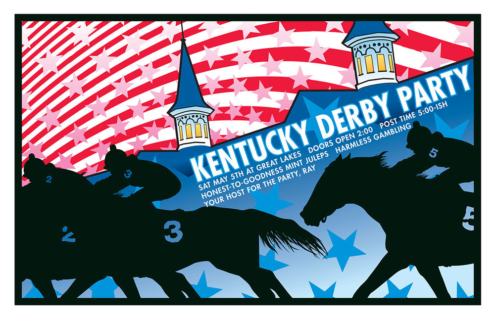 Design and illustration for 2001 Derby Party at Great Lakes