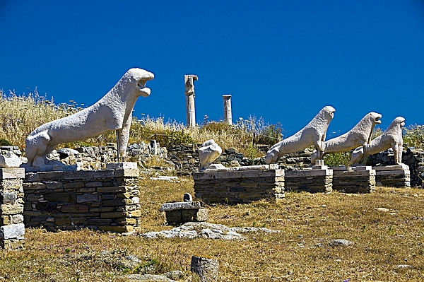 The Avenue of the Lions on Delos, Cyclades, Greece