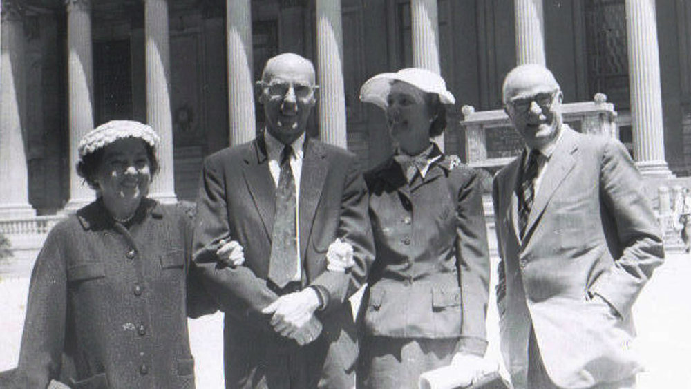 ISABEL, AMOS NIVEN, CATHARINE AND THORNTON WILDER AT YALE, JUNE, 1956, WHEN AMOS RECEIVED AN HONORARY DEGREE FROM HIS ALMA MATER