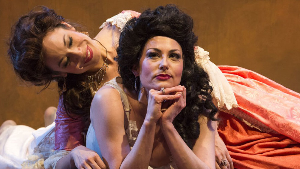 MALIA WRIGHT AND ABBY CRADEN IN A NOISE WITHIN'S PRODUCTION OF THE BEAUX' STRATAGEM