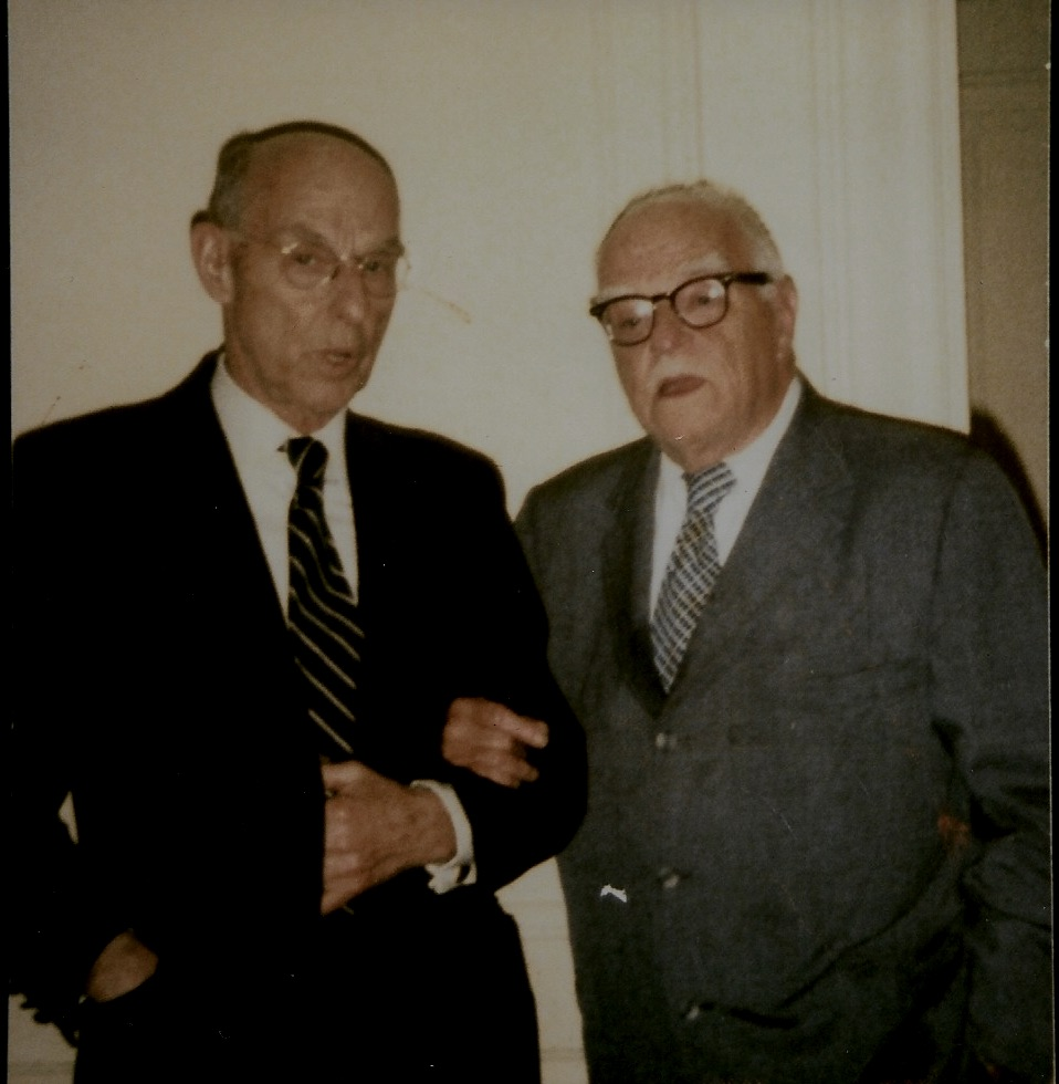 (L to R) Brothers Amos and Thornton Wilder, spring of 1975, Copley Plaza Hotel, Boston.