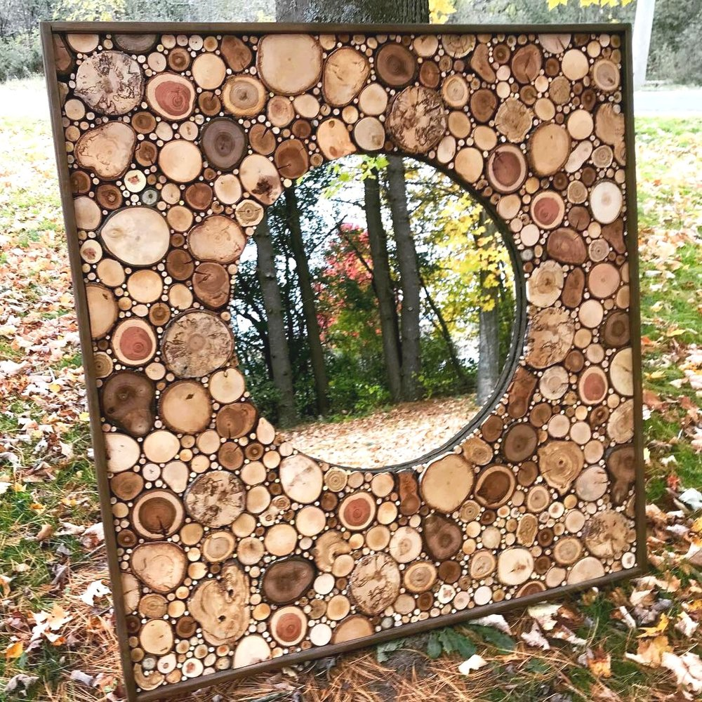 "Square art panel with inset round mirror 48"" x 48"""