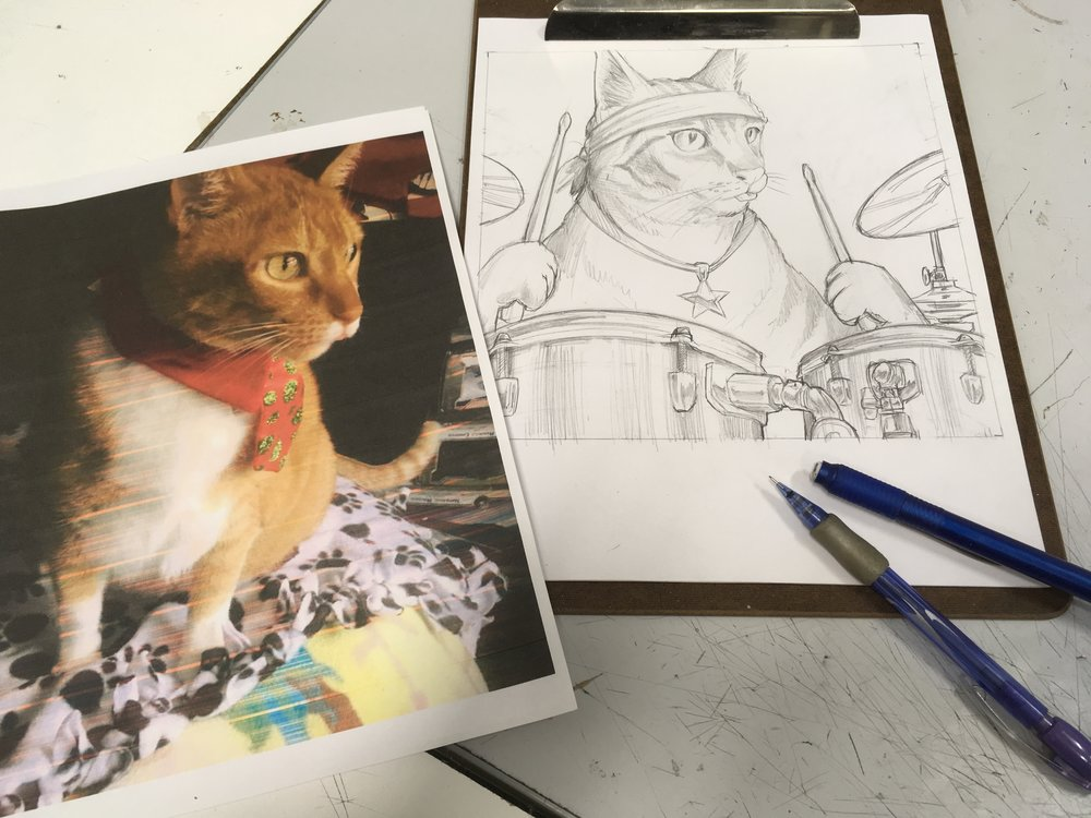 1. The reference photo - A clear, accurate, reference photo is essential to a successful final product. Dramatic angles or high contrast lighting creates the best paintings. Additional reference photos not shown where used to illustrate the drums and the anthropomorphic pose of the cat.