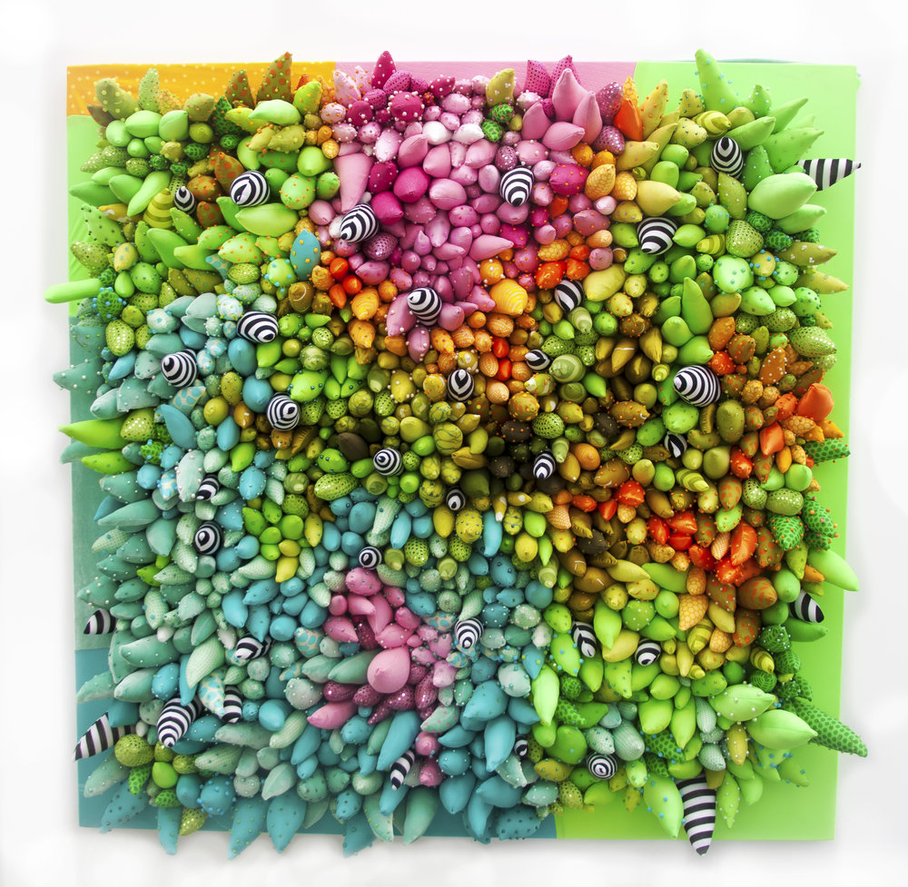 Highlighter Garden Party , 2016. Fabric, poly-fil, beads, canvas.