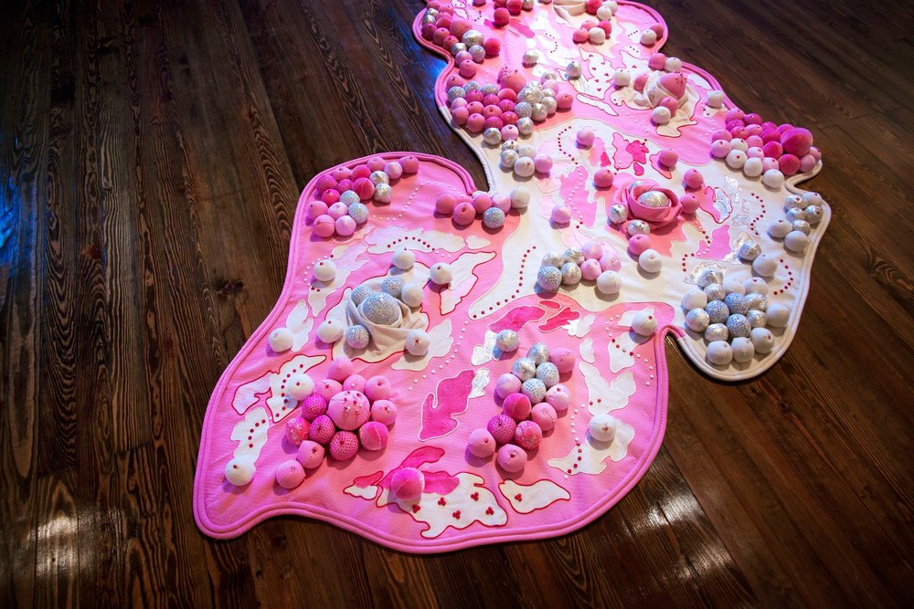 "Pepto Chew (detail) , 2016. Fabric, bandanas, polyfil, beads, cotton piping. 10'x'4.5'x5"""