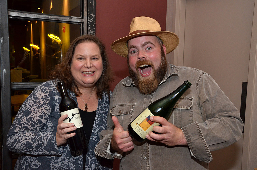 Advintage Distributing's Ariel Tetterton (left) and Bedrock Wine Co.'s Chris Cottrell.