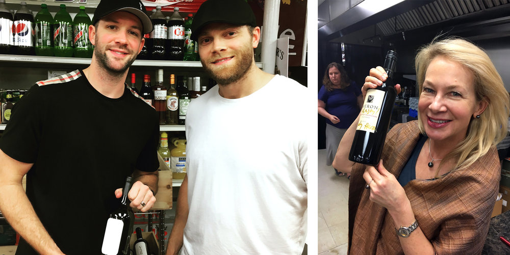Carolina Hurricane's Cam Ward and Tim Gleason, left, with a bottle of their Vineyard 36 wine – and Laely Heron, right, of Heron Wines in San Francisco poses with a signed bottle.