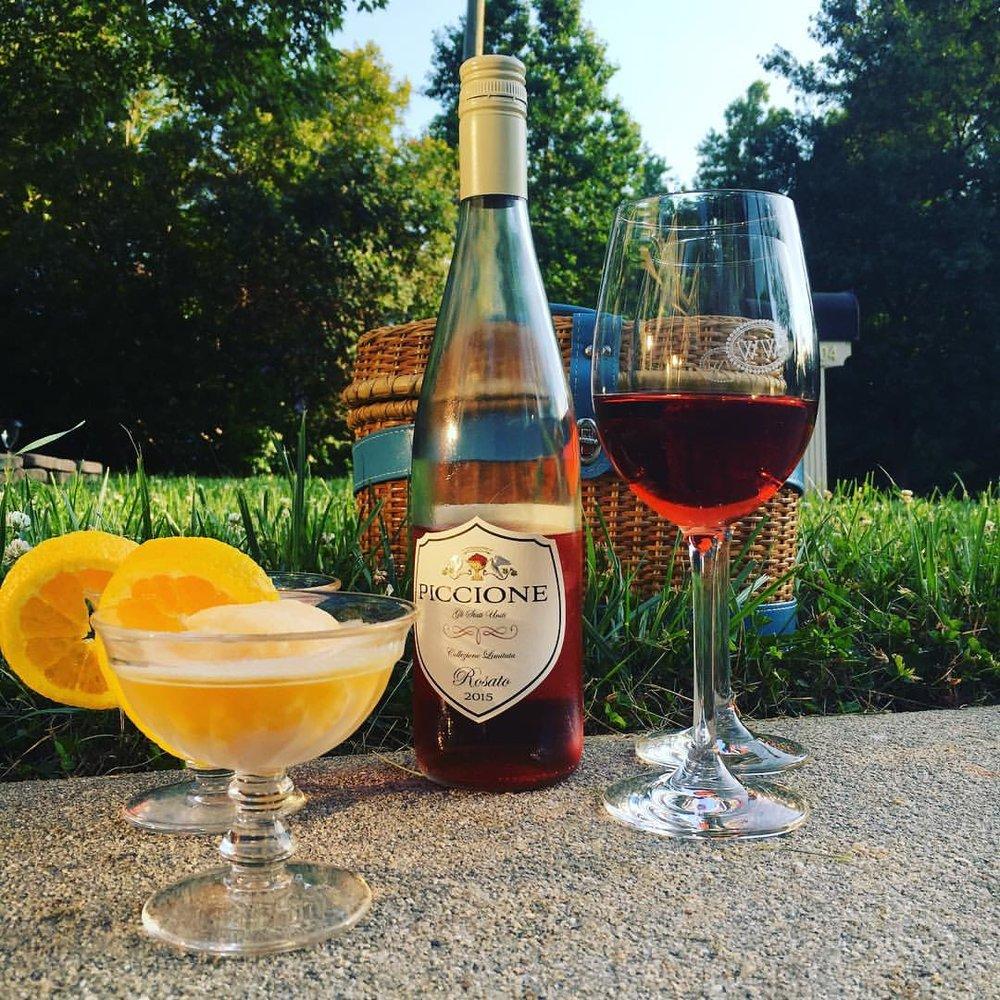 Piccione Vineyard's 2015 Rosato paired with cantaloupe-orange sorbet -