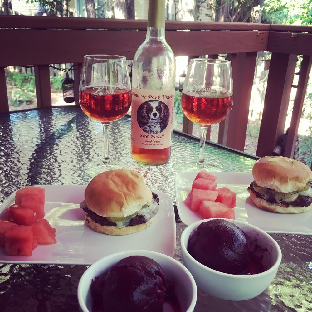 Hanover Park Vineyard Pearl Rosé paired with fresh blueberry with lemon balm sorbet -