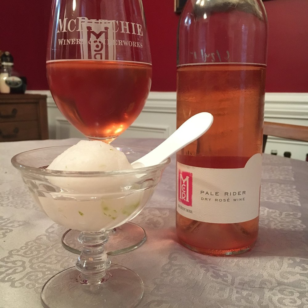 McRitchie Winery & Ciderworks Pale Rider Rosé paired with Moonshine Lime Margarita sorbet. -