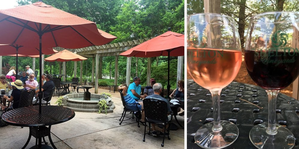 We took a break on the Shelton patio to enjoy a glass of wine each before dinner.