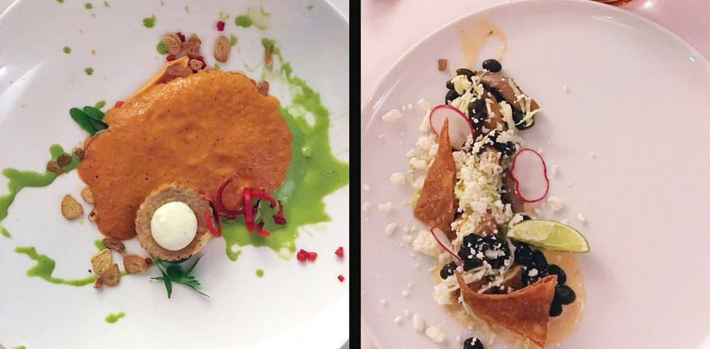 Appetizers included a deconstructive bisque and Mexican-style mushroom Gnocchi.