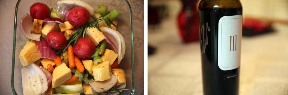 An assortment of veggies and a 2013 Vineyard 36 Foundation Cabernet Sauvignon.