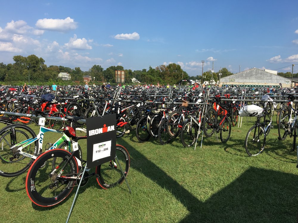 A sea of bikes the morning before my half ironman. this wouldn't have been possible if i hadn't been the recipient of powerful coaching.