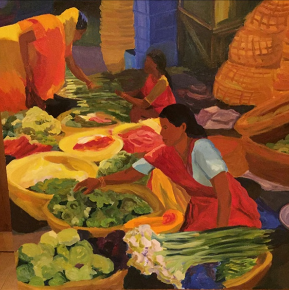 Morning Market, Udaipur II, 42x42, oil on canvas 2017
