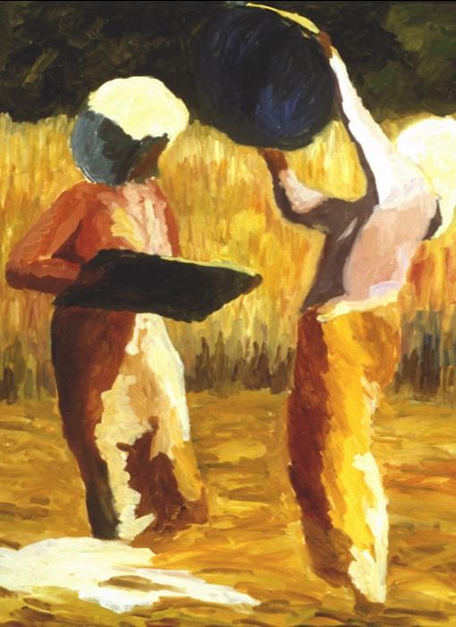 Rice Harvest III, 36x48, 1999