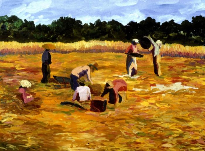 Rice Harvest I, 30x40, 1988