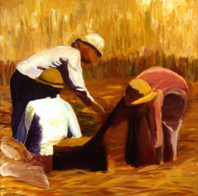Rice Harvest IV, 48x48, 1999