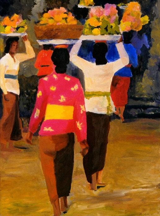 Temple Procession VI, 36x48, 2003