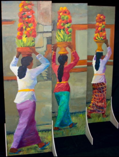 Temple Procession, Bedulu IV, 3 panels each 24x78, 2012