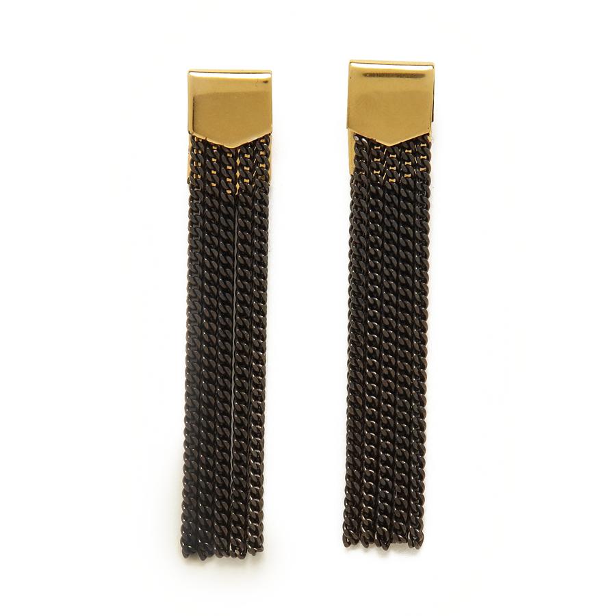 Two Tone Folder Chain Earring