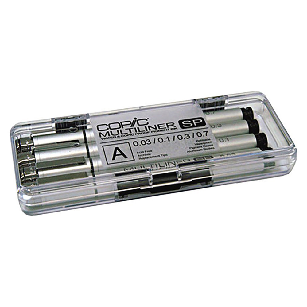 Copic Multiliners - These felt-tip pens are refillable and have replaceable nibs. They feel great and never let me down. And they're waterproof so you can add marker and watercolors over them with no problem. They're kinda expensive, though.