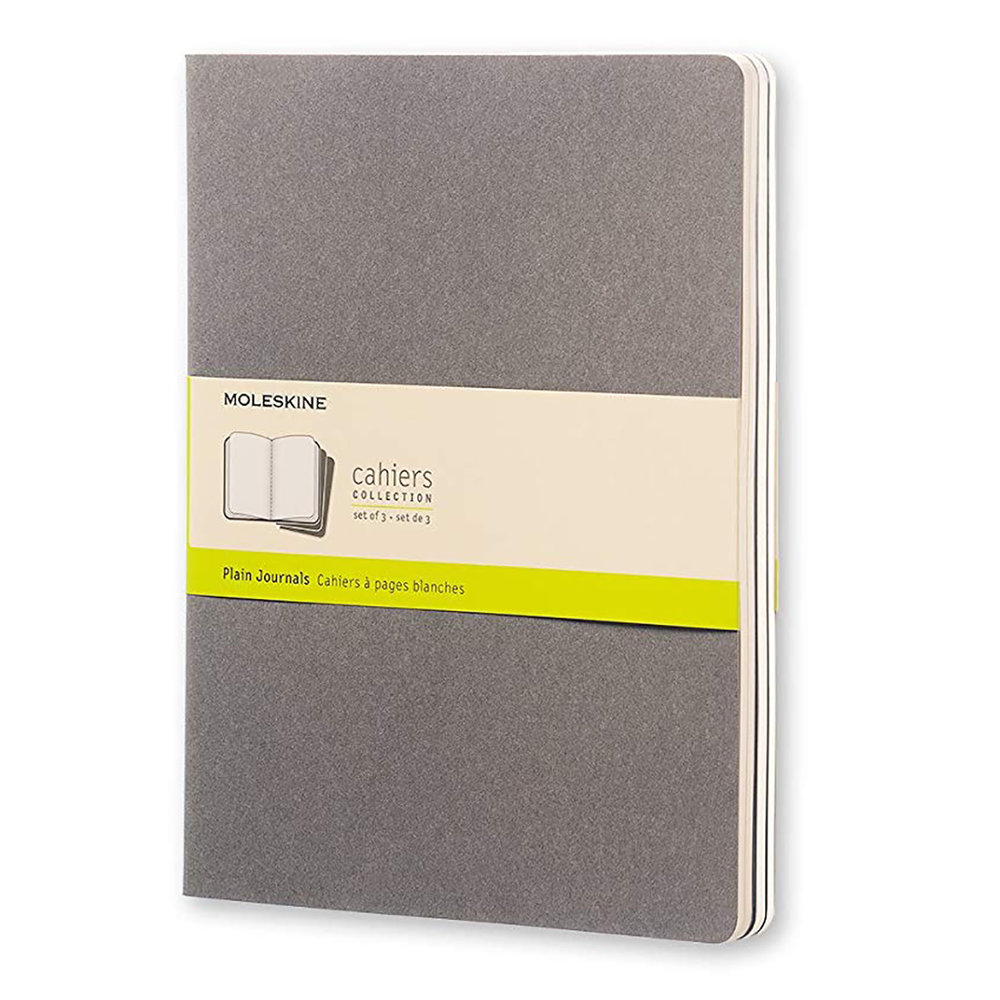"""Moleskine Cahier Soft Cover Journal 7.5x9.75"""" - Cheap. Simple. Small. These things are ideal daily sketchbooks, and I don't need to worry about filling them with crappy drawings. Markers bleed like crazy, so use a piece of scrap cardstock under the page if using markers."""