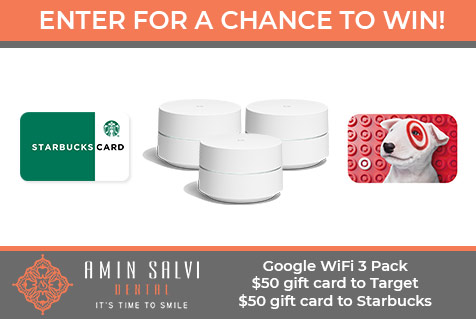 Win a 3 pack of Google WiFi, a $50 gift card to Target, or a $50 gift card to Starbucks.