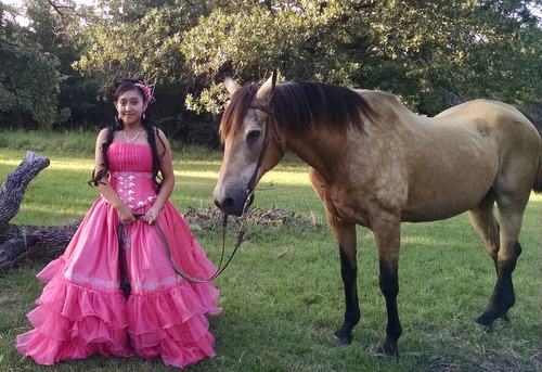 Quinceañera photo session with one of our horses, Chaco.