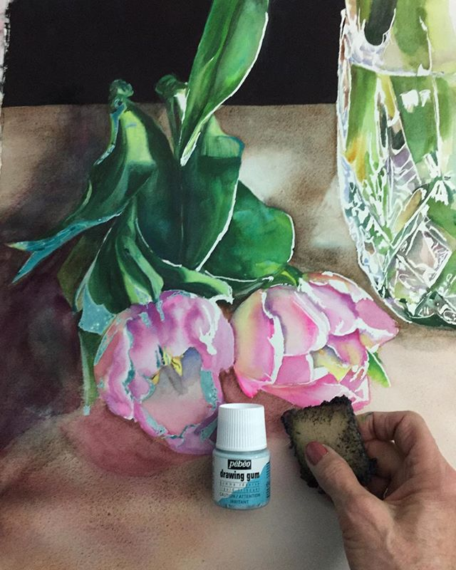 ❤️this Pebeo masking fluid!  After 10 weeks it was painless to remove, left no residue or stains!! Now I can finish this one up. #watercolor #artoftheday #instaart #artstudio #creative #Pebeo #painting