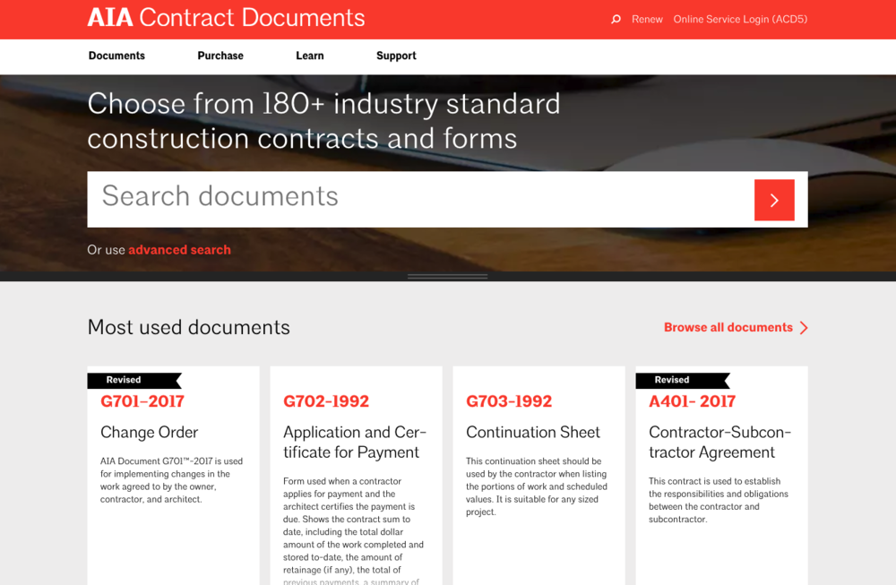 AIA Contract Documents - 180+ Industry Standard Construction Contracts and Forms