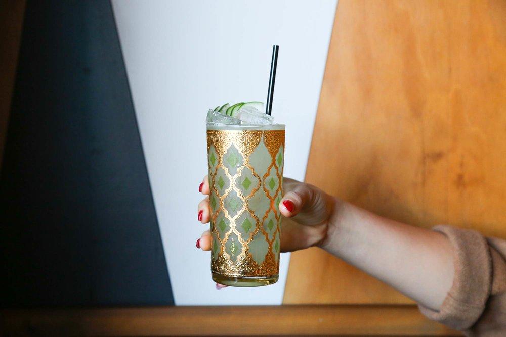 Umbrella - St. George Green Chile Vodka, Cucumber, Lemon, Club Soda