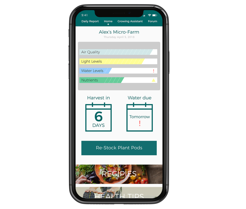 One Intuitive User Interface - The Babylon App will guide you every step of the way- Live data and alerts on your farms health- Harvest scheduling- Continuous growing support- Easy re-ordering of growing suppliesRequest a consultation to learn more.