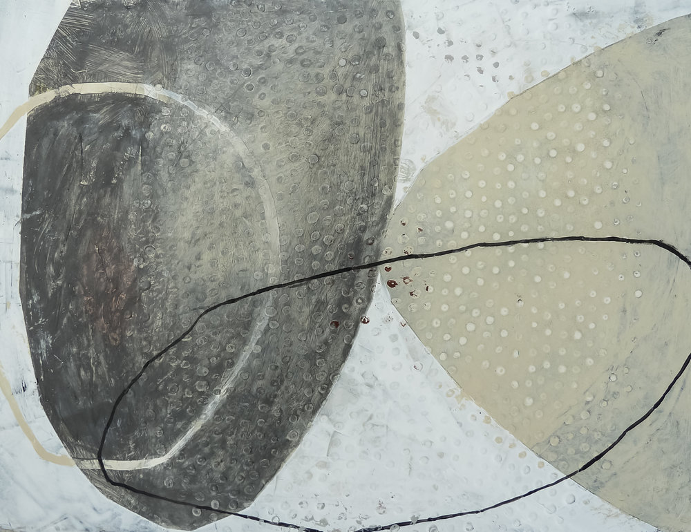 "Pilgrim VI, acrylic on museum board, 11"" x 13.75"""
