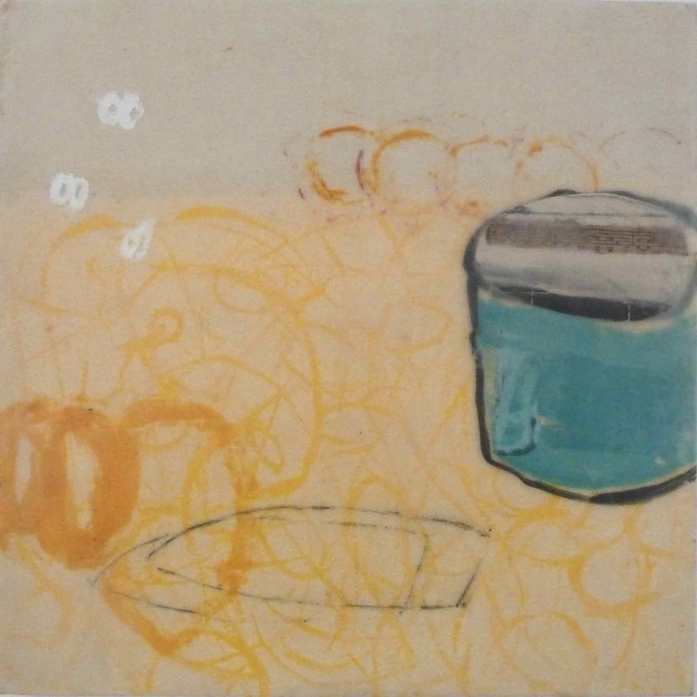 "Blue Jar, mixed media encaustic, 12"" x 12"""