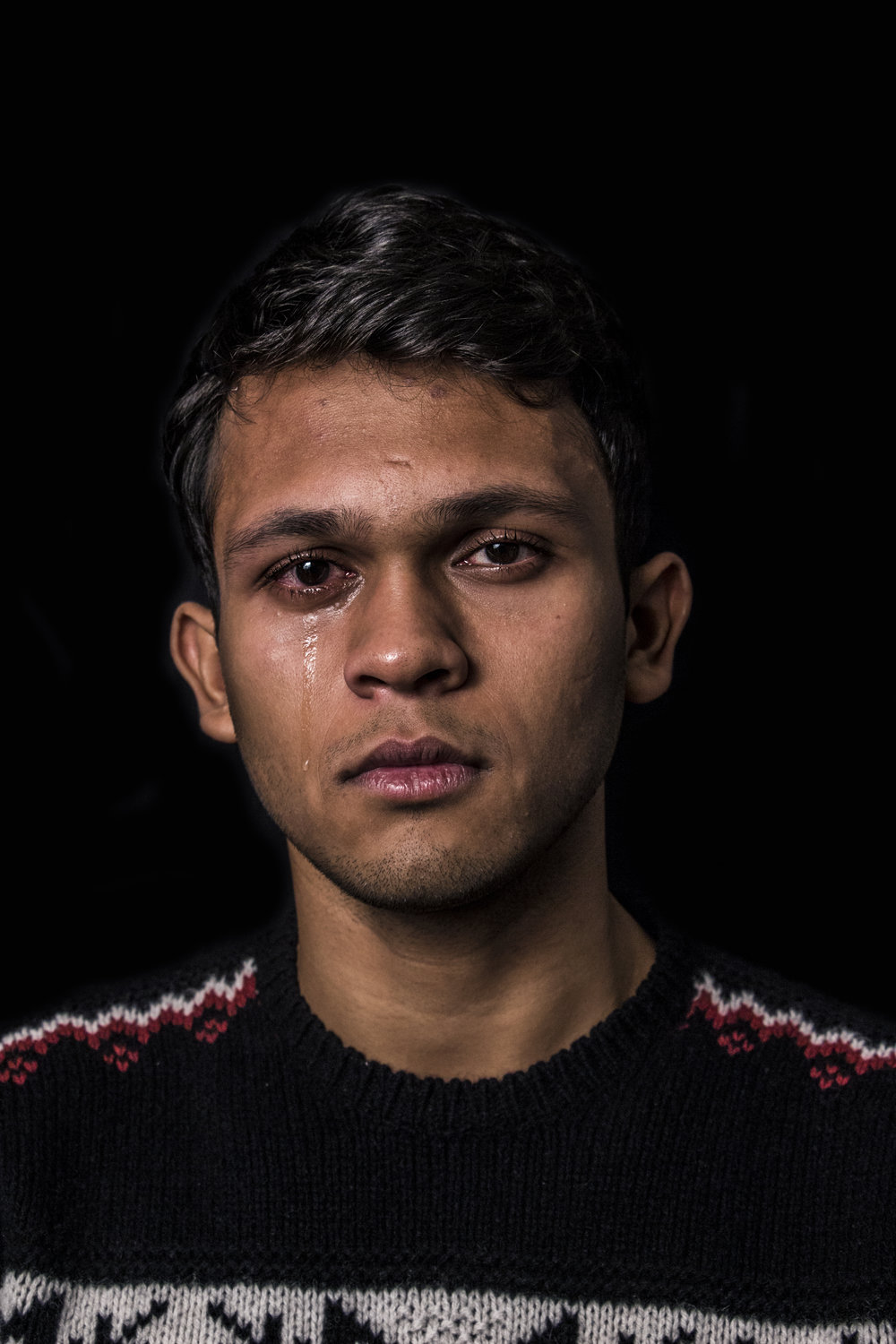 Aditya (19)   I used to see myself as strong because I did not cry; now I feel weak because I cannot cry.
