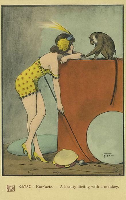 Gayac - Entr'acte - A beauty flirting with a monkey