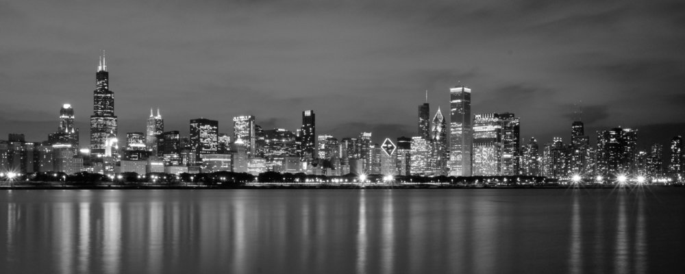black and white chicago skyline