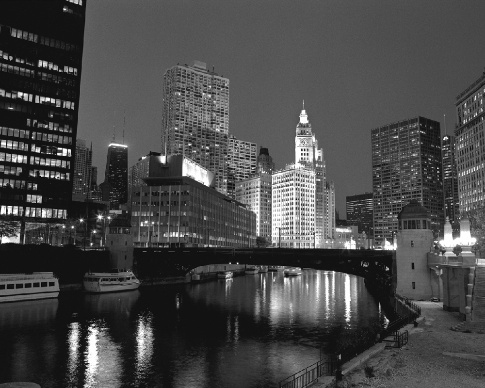 Chicago river w wrigley building black white chicago framed photo